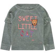 JETTE Sweatshirt im Samt-Look - Grey Neppy