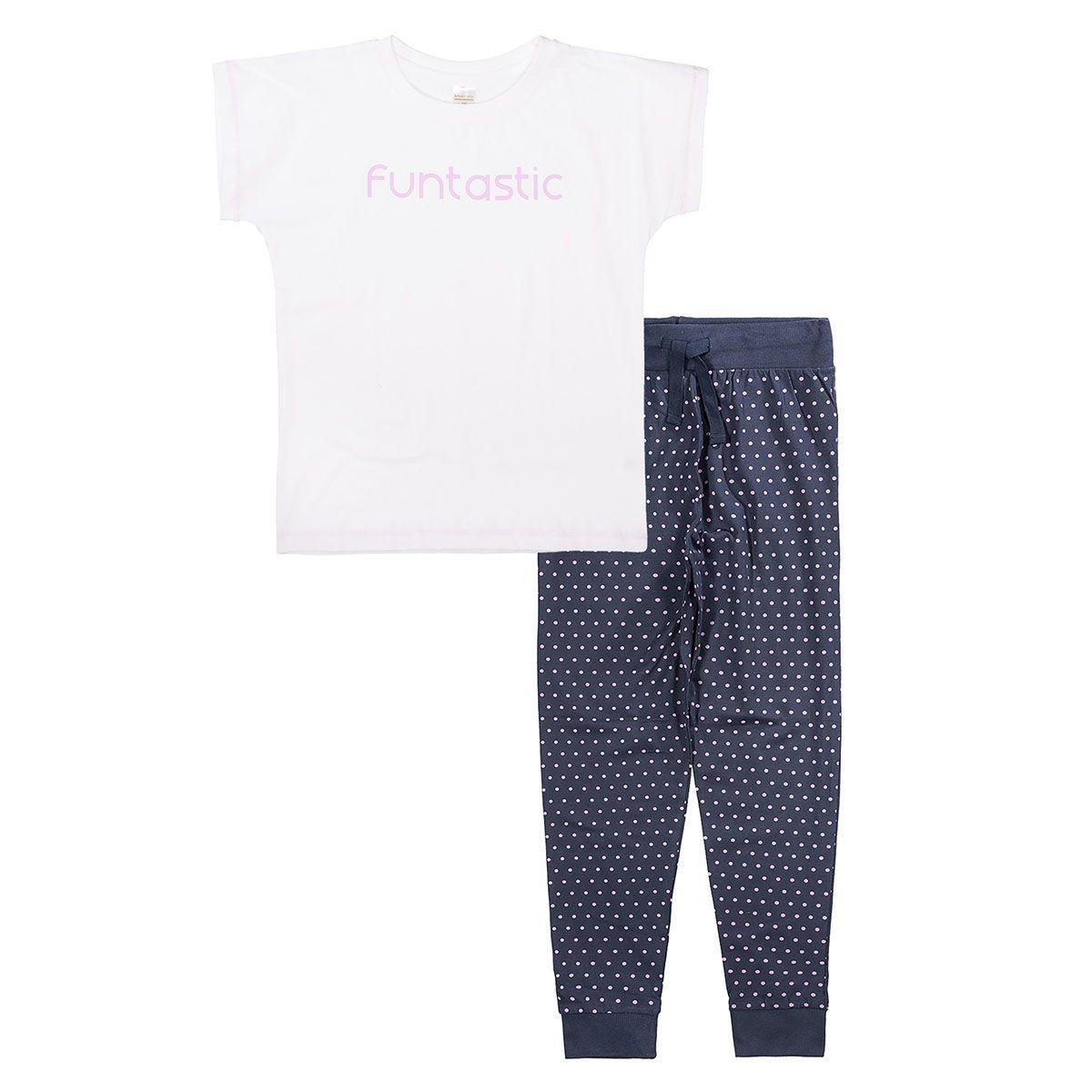 Pyjama mit Wording-Print - White