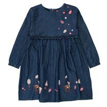 Denim-Kleid mit Wald-Tier-Stickerei - Mid Blue Denim