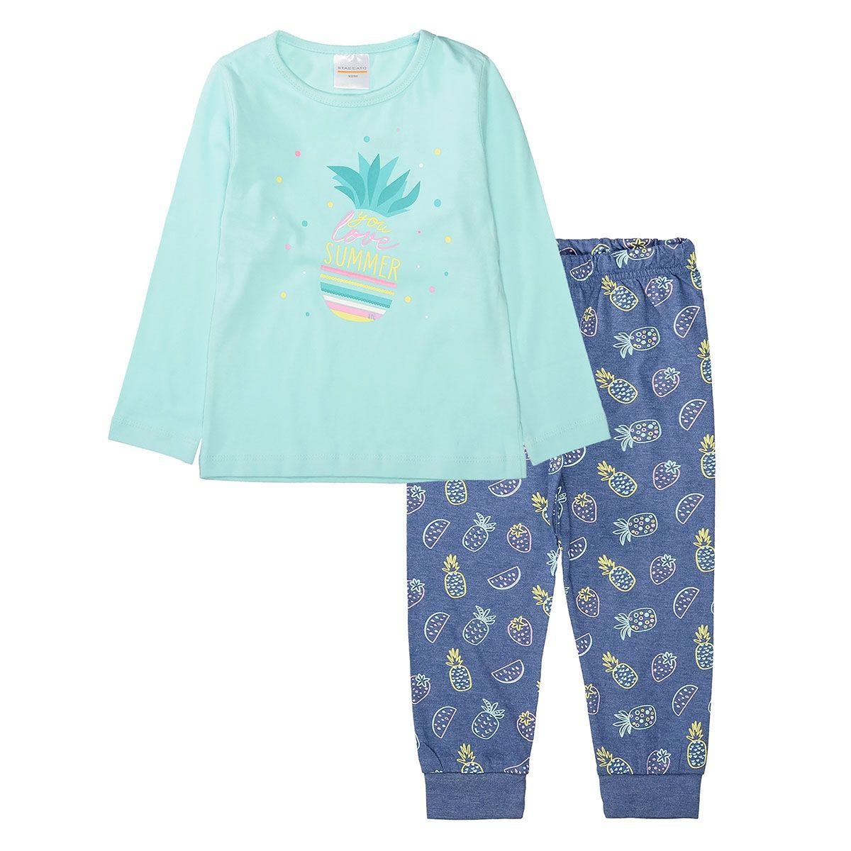 Pyjama mit Ananas-Prints - Mint Indigo BLue