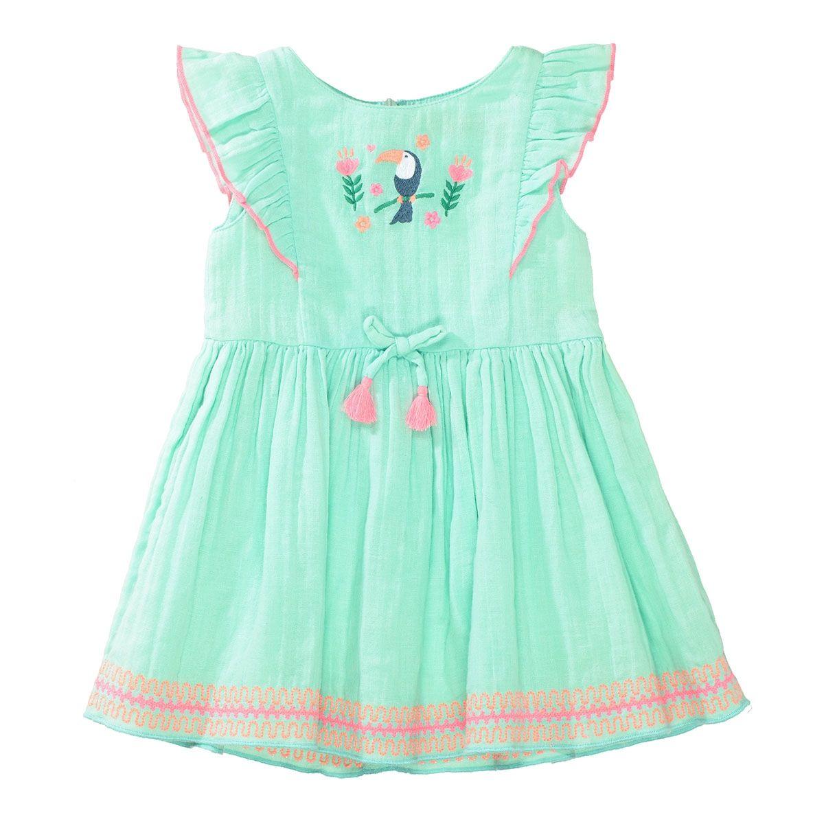 Kleid mit Stickereien - Fresh Mint