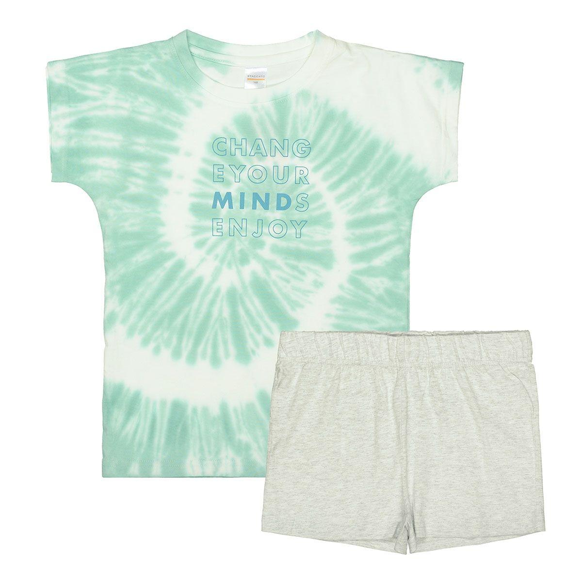 Shorty Pyjama mit Batikmuster - Mint