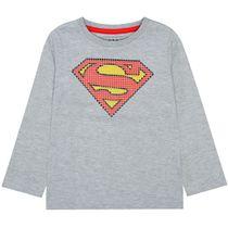 Langarmshirt SUPERMAN Slim Fit - Warm Grey Melange