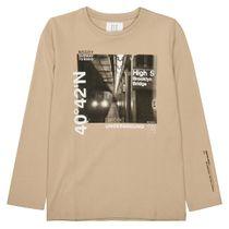 Langarmshirt mit Print SLIM FIT - Beige