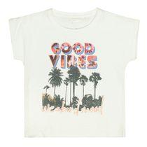 T-Shirt mit Palmen-Print auf der Front - Offwhite