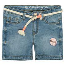 Jeans Shorts mit Gürtel - Mid Blue Denim