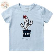 Wendepailletten T-Shirt Kaktus - Pastel Blue