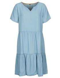 FRY DAY Kleid in Denim-Optik - Blue Denim