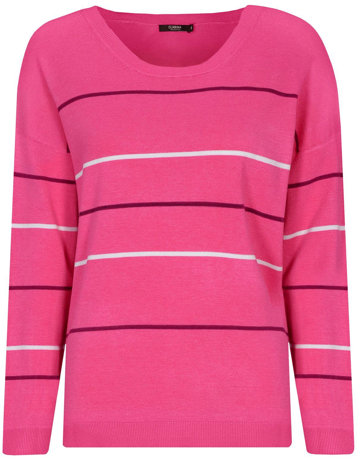 CLARINA Rundhalspullover im Ringel-Design - Pink Meliert