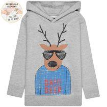 WENDEPAILLETTEN Kapuzenpullover Oh Deer – Washed Blue