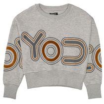 Boxy-Sweatshirt mit Print - Grey Melange