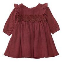 Kleid mit Volant-Einsatz - Dark Berry