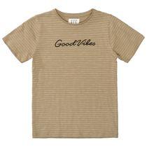 T-Shirt GOOD VIBES im Streifen-Design - Dark Sand