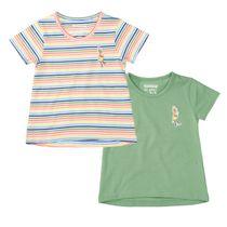 2er-Pack T-Shirts mit Vogel-Patch auf der Brust - Bunt Sortiert