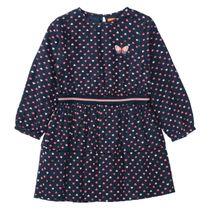 Kleid mit Stufen-Volants - Dark Blue Allover-Print