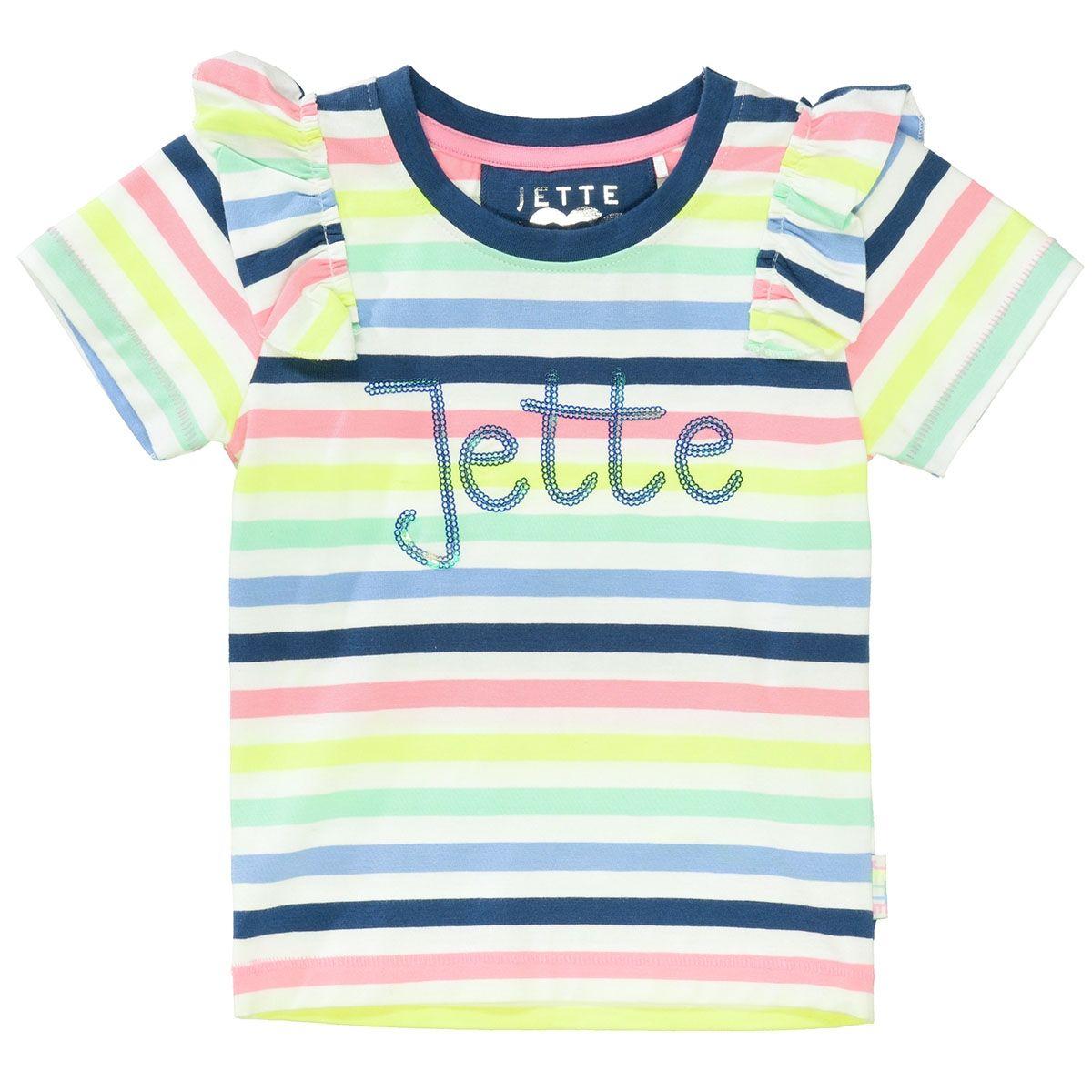 JETTE T-Shirt mit Volant - Offwhite Multistreifen
