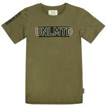 T-Shirt mit gummierten Wordings - Olive