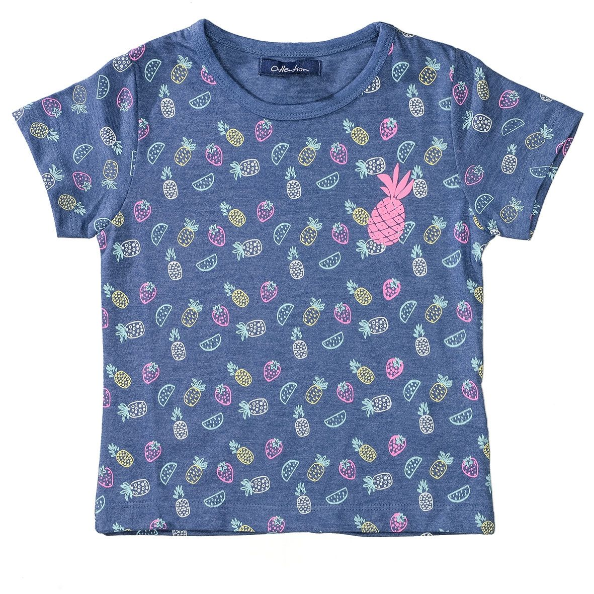 ATTENTION T-Shirt mit Ananas-Applikation - Pineapple-AOP