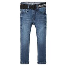 Skinny Jeans Slim Fit mit Gürtel - Blue Denim