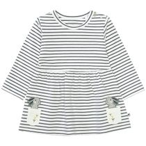 Kleid mit Streifen und Applikation - Offwhite