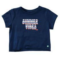 JETTE Cropped T-Shirt SUMMER VIBES mit Untertop - Dark Tinte