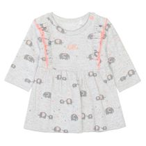ORGANIC COTTON Kleid Elefanten - Light Stone Melange