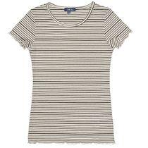 ATTENTION T-Shirt im Ripp-Design - Offwhite Black