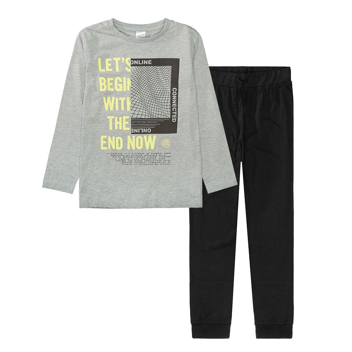 Pyjama mit Print - Grey Melange