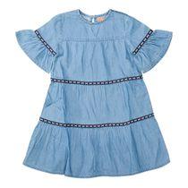 Kleid mit Stufen-Volants - Mid Blue Denim