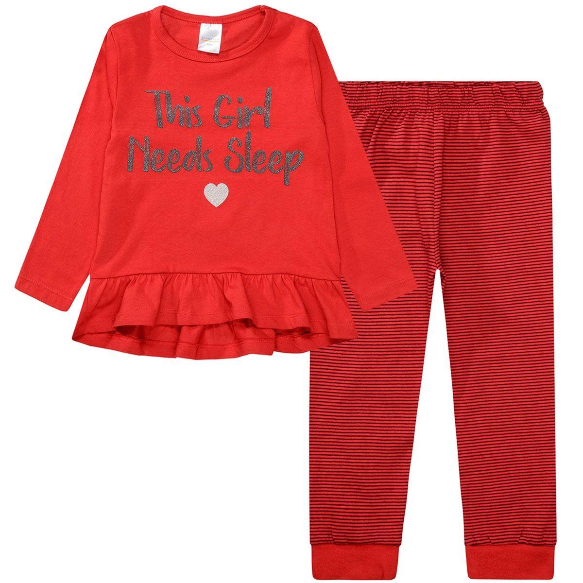 Pyjama mit Glitzerprint - Bright Red
