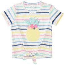 T-Shirt mit Ananas-Applikation - Offwhite Streifen