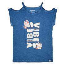 T-Shirt GOOD VIBES mit Cold-Shoulder-Ärmeln - Deep Ocean