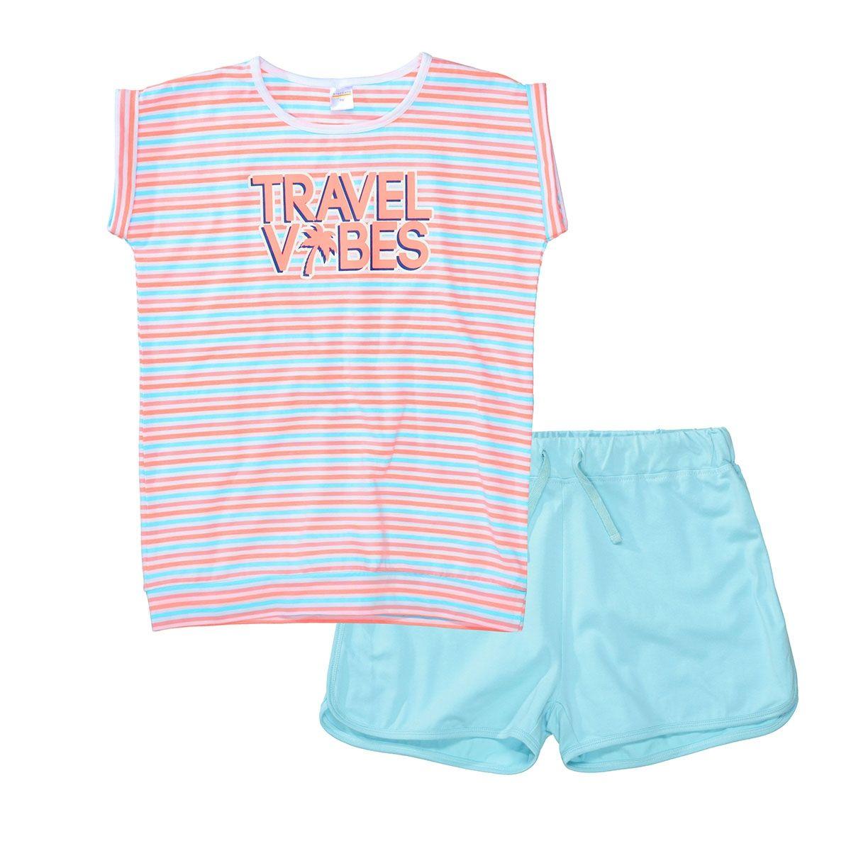 Shorty Pyjama TRAVEL VIBES - Light Sea