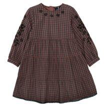 BASEFIELD Karo-Kleid mit Blumen-Stickerei - Dark Berry