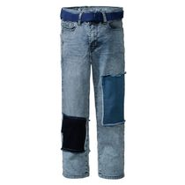 Jeans mit Gürtel High Waist - Mid Blue