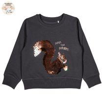 WENDEPAILLETTEN Sweatshirt mit Wording-Print - Anthra