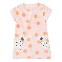 T-Shirt-Kleid mit Hunde-Applikation am Saum - Blush AOP