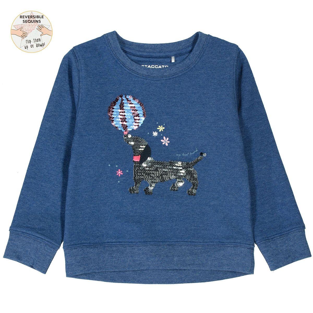 Sweatshirt mit Wendepailetten - Deep Blue Melange