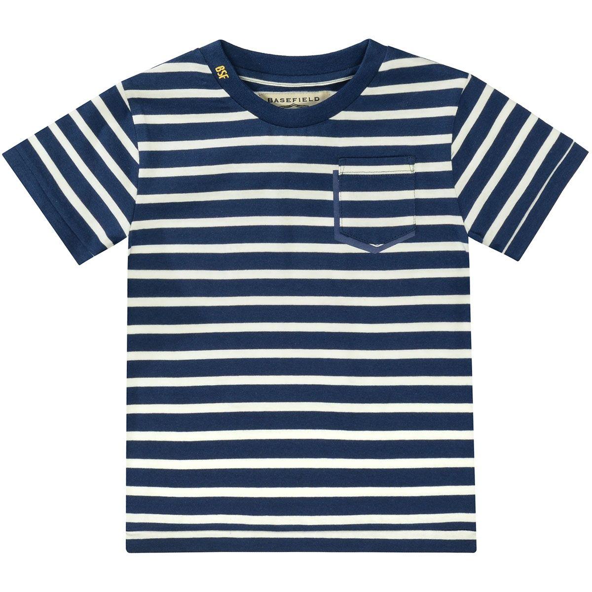 BASEFIELD T-Shirt Streifen - Marine