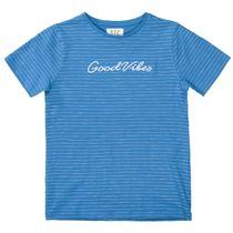 T-Shirt GOOD VIBES im Streifen-Design - Dark Ocean