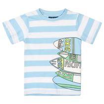 ATTENTION T-Shirt Slim Fit im Streifen-Design - Light Ocean