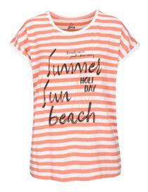 FRY DAY T-Shirt im Streifen-Design - Light Melon