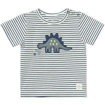 T-Shirt mit Dino-Applikation - Washed Blue Streifen