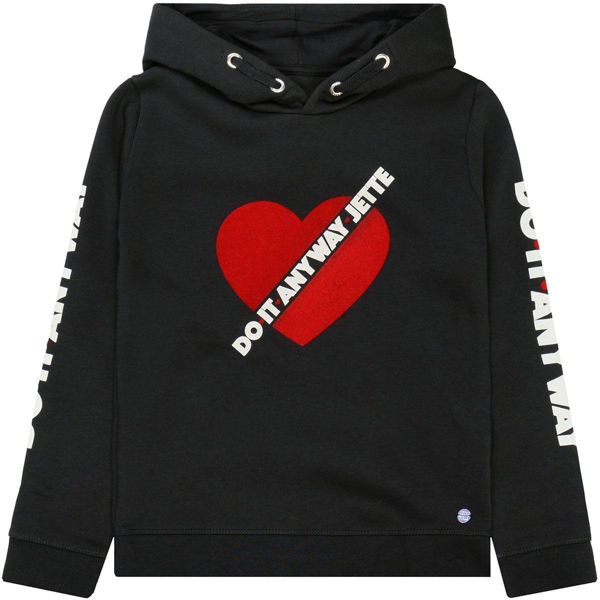 JETTE Kapuzen-Sweatshirt mit Samt-Herz - Black