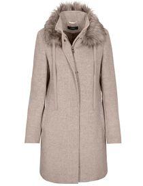 CLARINA Wollmantel mit Fake Fur Kragen - Taupe
