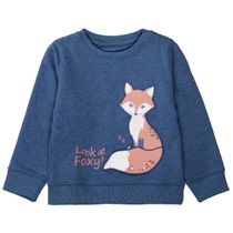 Sweatshirt mit Fuchs-Applikation - Indigo Melange