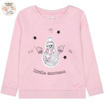 WENDEPAILLETTEN Sweatshirt Little Snowman - Rose Pink