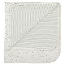 ORGANIC COTTON Decke mit Allover-Print - Soft White Melange