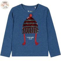 WENDEPAILLETTEN Shirt Cozy Winter - Marine Melange
