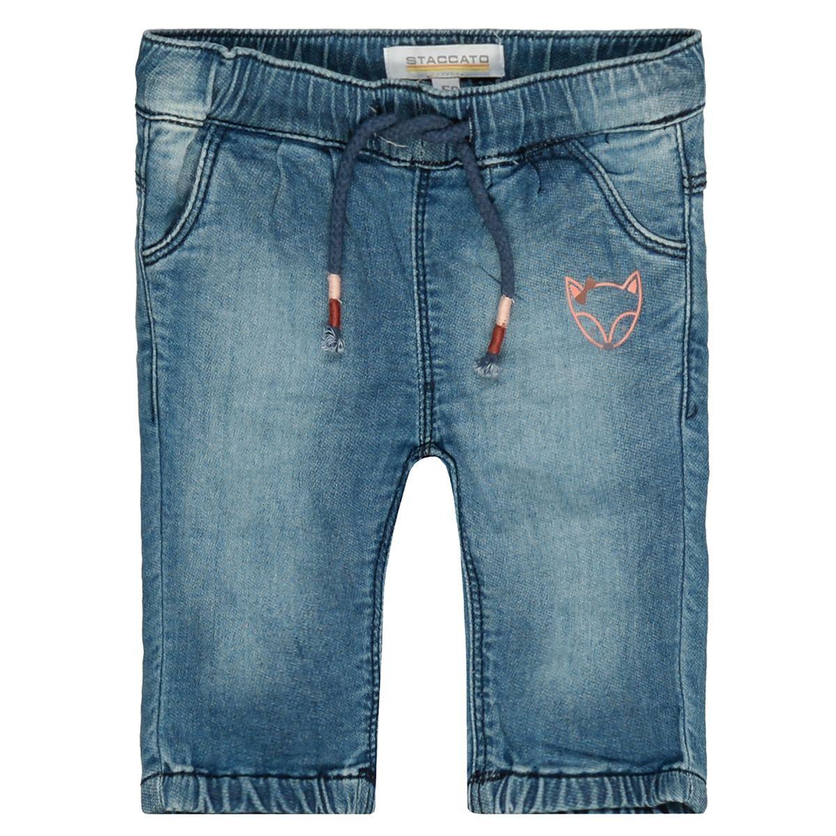 Jeans mit Print-Detail - Mid Blue Denim